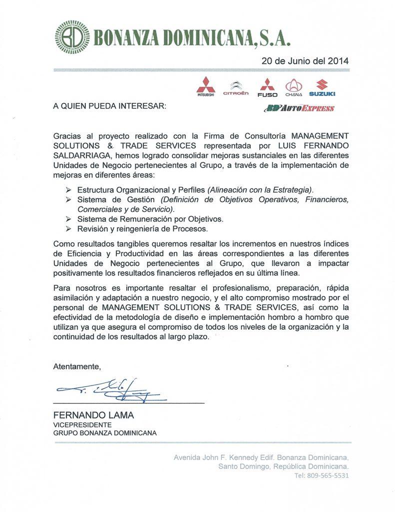 carta bonanza dominicana